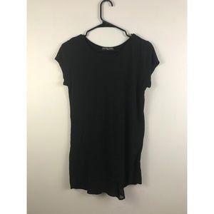 Kim & Cami Black Tshirt with Chiffon Godet - Small